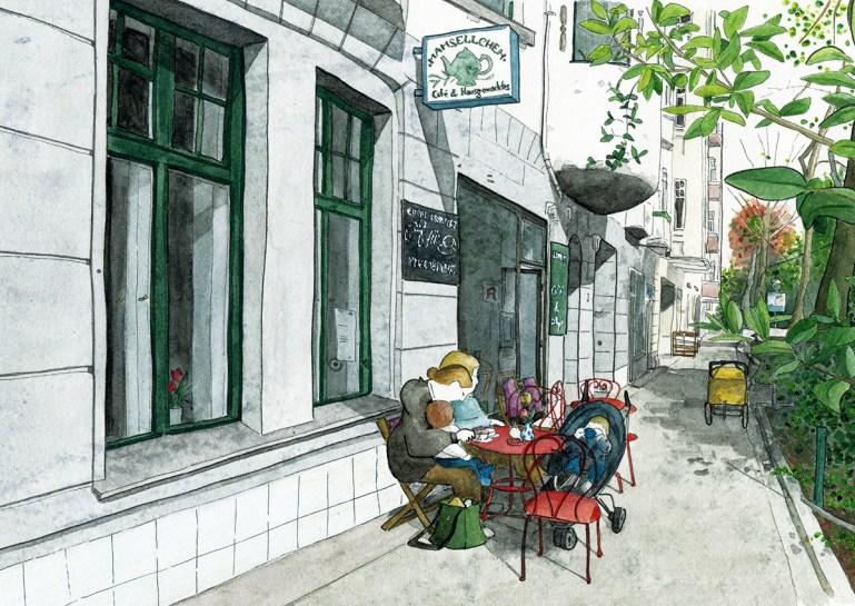 """illustrierte Postkarten Café """"Mamsellchen"""", Aquarell und Tusche"""