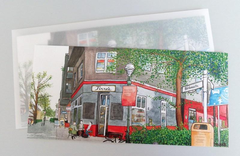 """Illustrierte Postkarten Café """"Tirree"""", Aquarell und Tusche"""