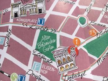 Stadtplan von München, Details Palais Lenbach und Propyläen