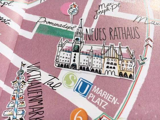 Stadtplan von München, Details Neues Rathaus und Viktualienmarkt