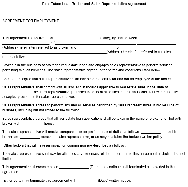 Sales Representative Agreement Template
