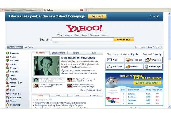 old yahoo homepage