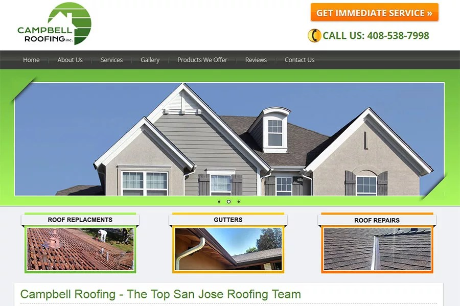 Website for Campbell Roofing, Inc.
