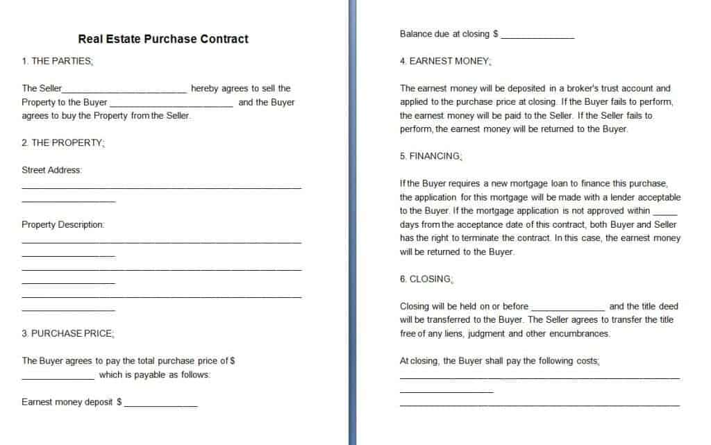 Download Free Real Estate Contract Template:  Money Contract Template