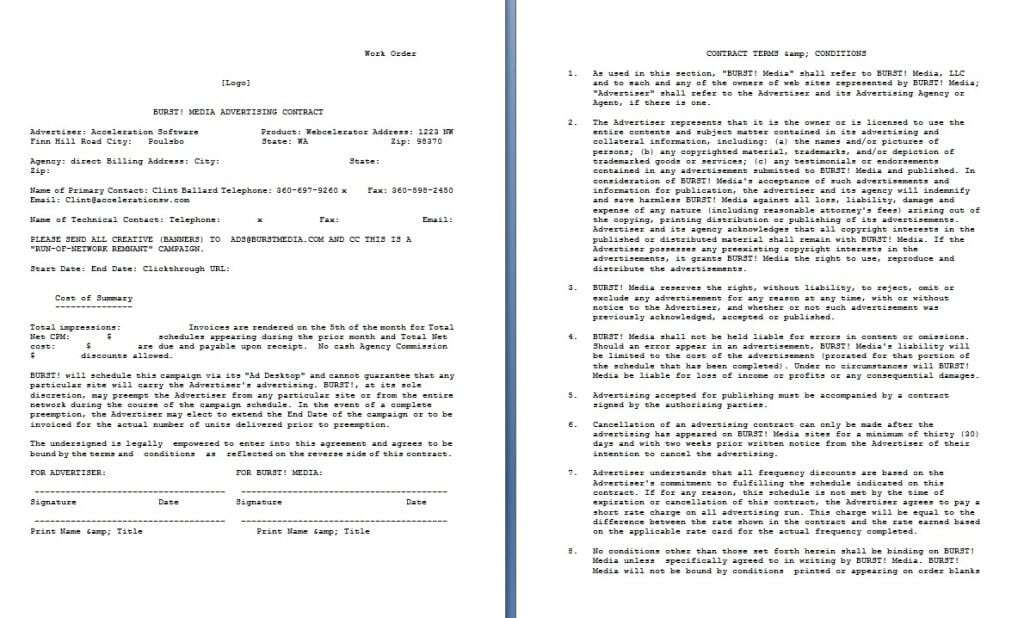 Download Free Media Advertising Contract Template:  Legal Contracts Templates Free