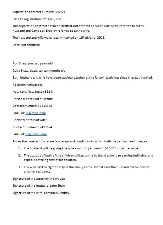 Download Separation Contract Template:  Money Contract Template