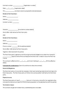 franchise contract template