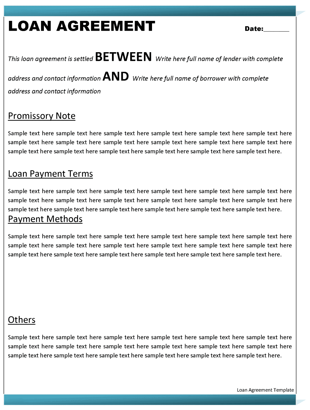 Personal Loan Contract Template  Personal Loan Document Template