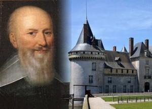 Maximilien de Bethune, Duque de Sully (1559-1641) y el castillo de Chateau-de-Sully-sur-Loira en la actualidad en Francia.