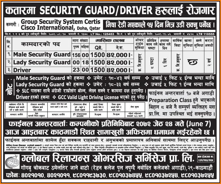 Job For Security Guard In Qatar  Job Application  Resume