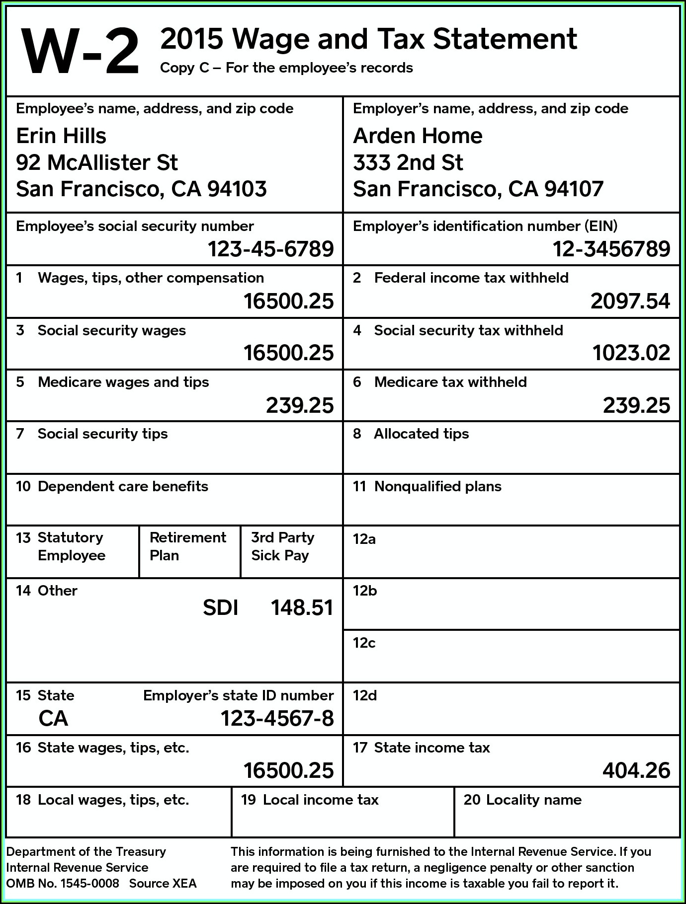 Irs Forms W 2 Instructions