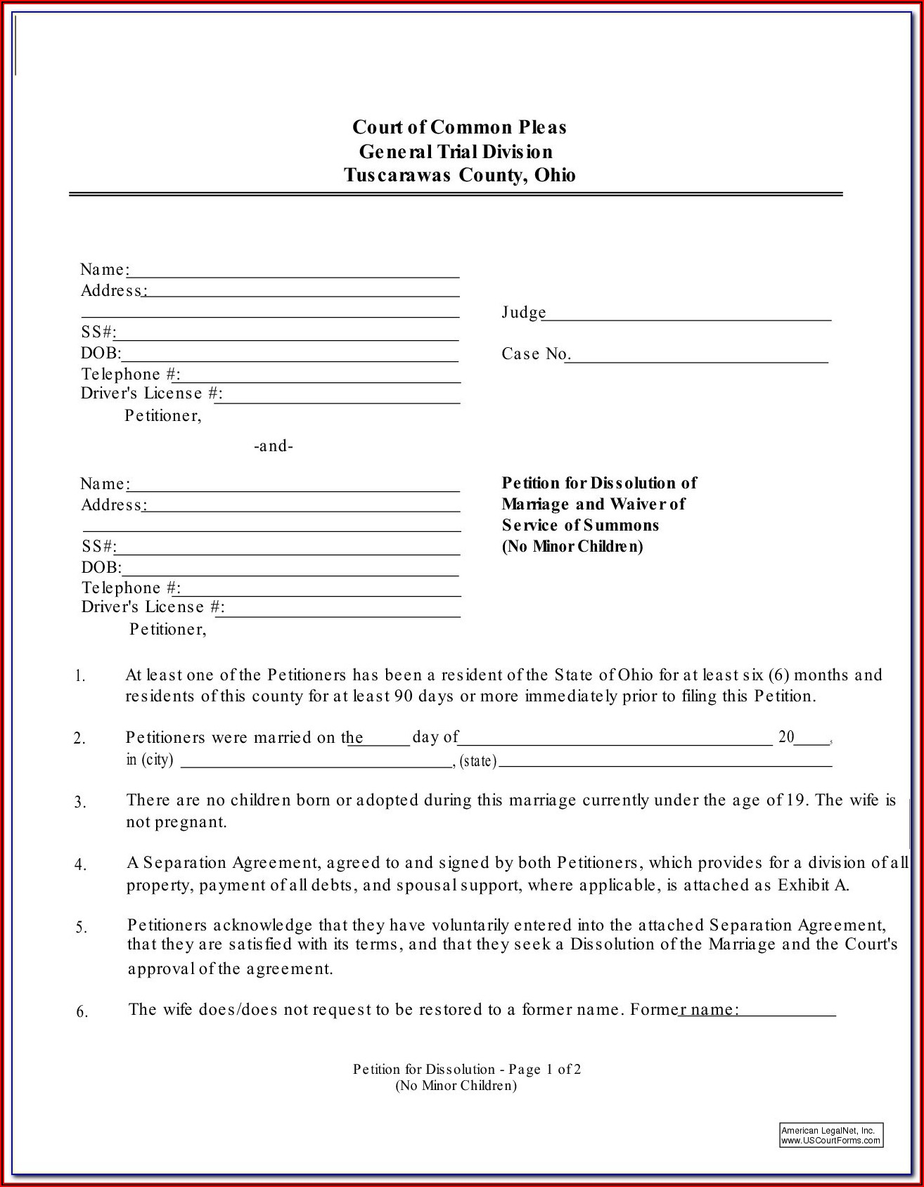 Ohio Dissolution Of Marriage Forms