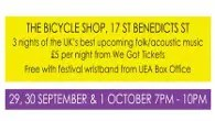 Three nights of music at The Bicycle Shop in Norwich
