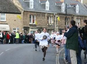 Olney Pancake Race, Shrove Tuesday, Olney Buckinghamshire