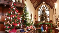 Stowmarket decorated for the festive season by the Christmas Tree Festival