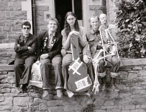 The Young Ones On Location in Bristol August 1982 Rik Mayall Chris Ryan Nigel Planer and Ade Edmondson Skeleton Punk Mirrorpix
