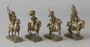 A set of small brass military figures presented by G. L. Narsinga Rao