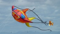 Colourful kites flying high in Morecambe