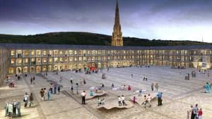The Piece Hall courtyard + Square Church spire. CGI (c) Iain Denby
