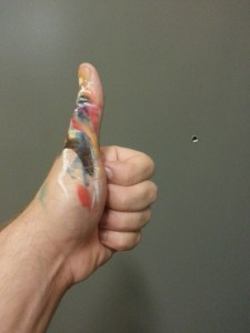 A painter's thumb after tiny painting