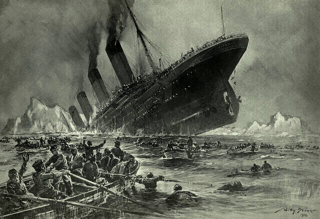 Naufrage du Titanic (Crédits : Willy Stöwer, image libre de droits)
