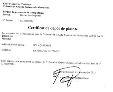 Plainte pour extorsion de fonds contre le RSI