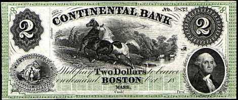 Un billet émis par une banque libre dans le Massachussets.