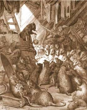 Conseil tenu par les Rats, illustration pour Jean de La Fontaines, fables, par Gustave Doré