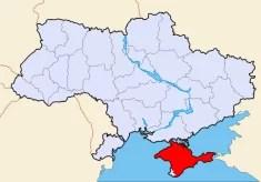 Carte de l'Ukraine et de la Crimée en rouge (Crédits Sven Teschke licence GNU GFDL)