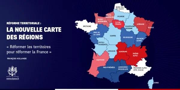 réformes territoriale carte des régions