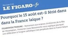 15 août laïcité (Copie d'écran Lefigaro.fr, image libre de droits)