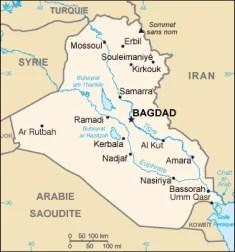 Carte de l'Irak (Crédits Eric Gaba, CIA, Image libre de droits)