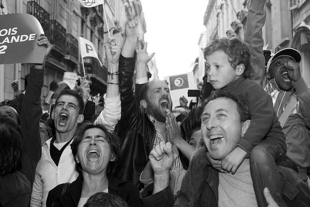 Militants socialistes victoire Hollande 2012 CC Flickr Amodalle