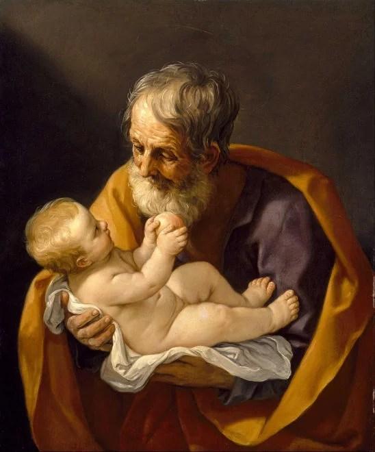 Guido Reni. Saint Joseph et l'Enfant Jésus (1640) (image libre de droits)