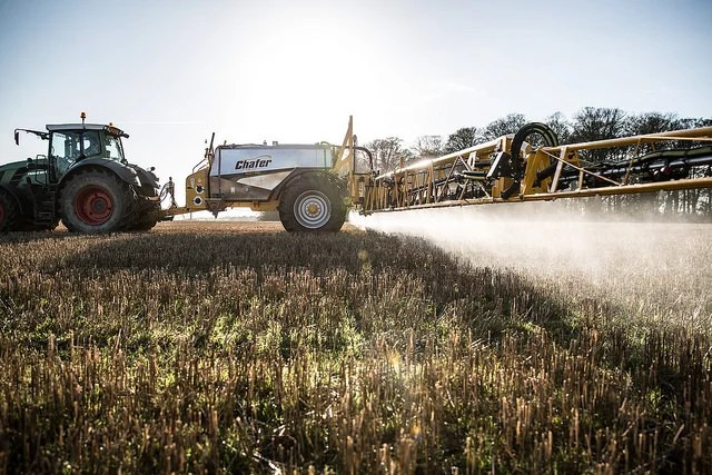 Chafer Sentry applying glyphosate to stubbles in North Yorkshire on a sunny December day - Credits  Chafer Machinery