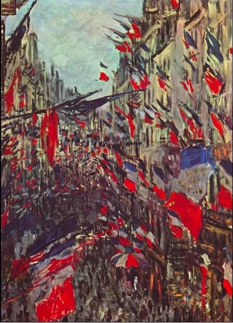 Toile de fond du boulangisme, le nationalisme français et la volonté de revanche sur la Prusse (fête nationale Rue Saint-Denis (Paris), par Claude Monet, 1878). – Domaine public