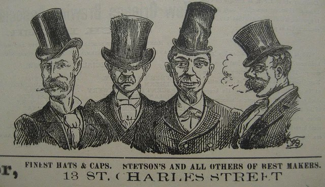 Finest Hats Ad Mascot 10 Sept 1892 credits infrogmation of New Orleans via Flickr ( CC BY 2.0)