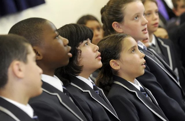 Opening of West London Free school. Cambridge Grove, Hammersmith. 9.9.11 Pupils sing at the opening.free school (CC BY-NC-ND 2.0)