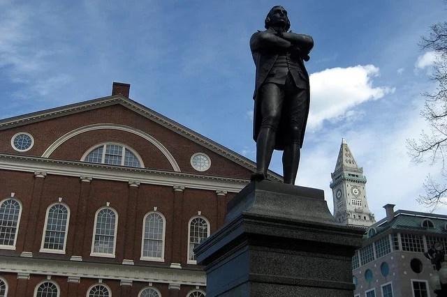Boston - Freedom Trail - Faneuil Hall - Samuel Adams statue credits Wally Gobetz via Flickr ((CC BY-NC-ND 2.0)