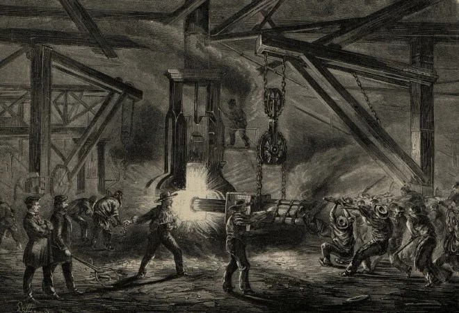 La forge des grosses pièces de marine à l'usine Petin et Gaudet de Rive-de-Gier, L'Illustration 1862