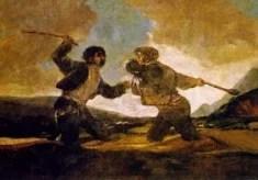 Duel à coups de gourdins, par Goya (Image libre de droits)