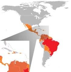 Pays américains avec cas confirmés de virus Zika (février 2016) Les moustiques OGM pourraient éradiquer le virus Zika