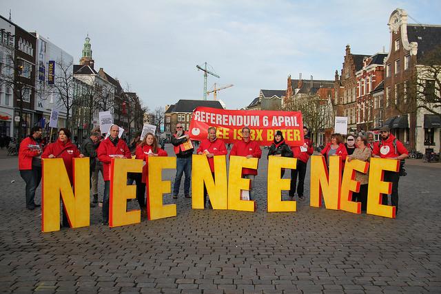 Drie keer NEE tegen het associatieverdrag met Oekraïne crédits SP Groningen (CC BY-NC-ND 2.0)
