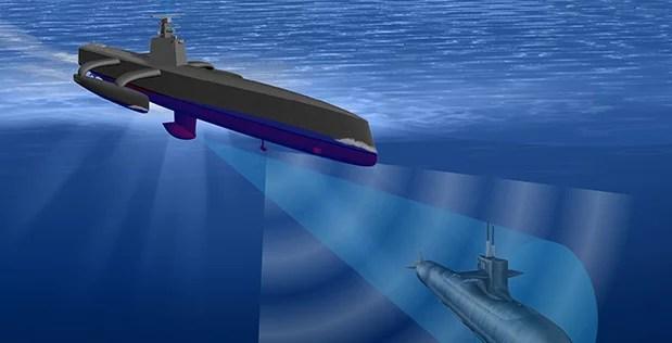 Sea Hunter, un vaisseau autonome de la DARPA 2 (Image libre de droits)