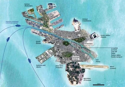Migrations : Plan de l'île artificielle Europe en Afrique dessinée par Theo Deutinger