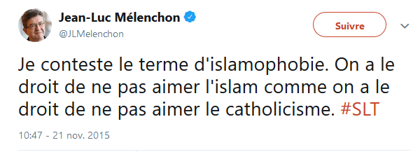 tweet mélenchon islamophobie