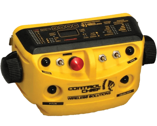"For ""in-plant railroad operation"", this transmitter is equipped with a large, red mushroom stop button and is compatible with TrainChief®plus ™ and MU"