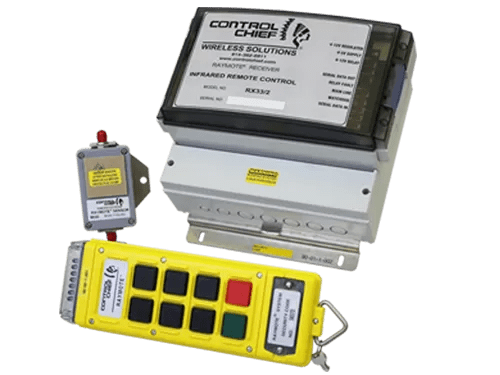 -Controls up to eight individual relays -Choose from three different industrial grade, hand-held transmitter models -Integrated sensor with receiver