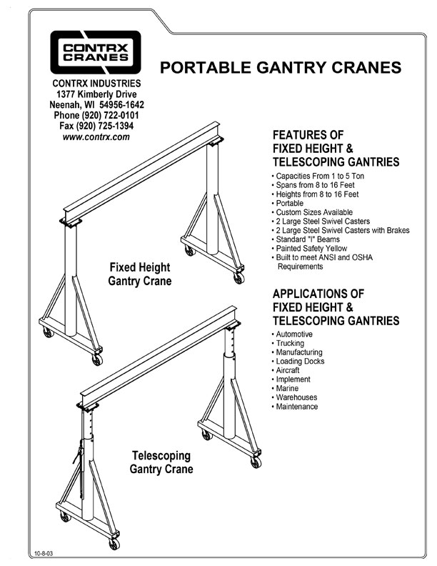 Portable gantry telescoping height from Contrx Cranes