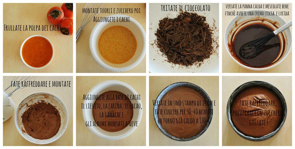 torta cachi e cioccolato passo passo